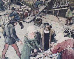 Skolplansch   Bild från Stockholms hamn på Gustav Vasas tid